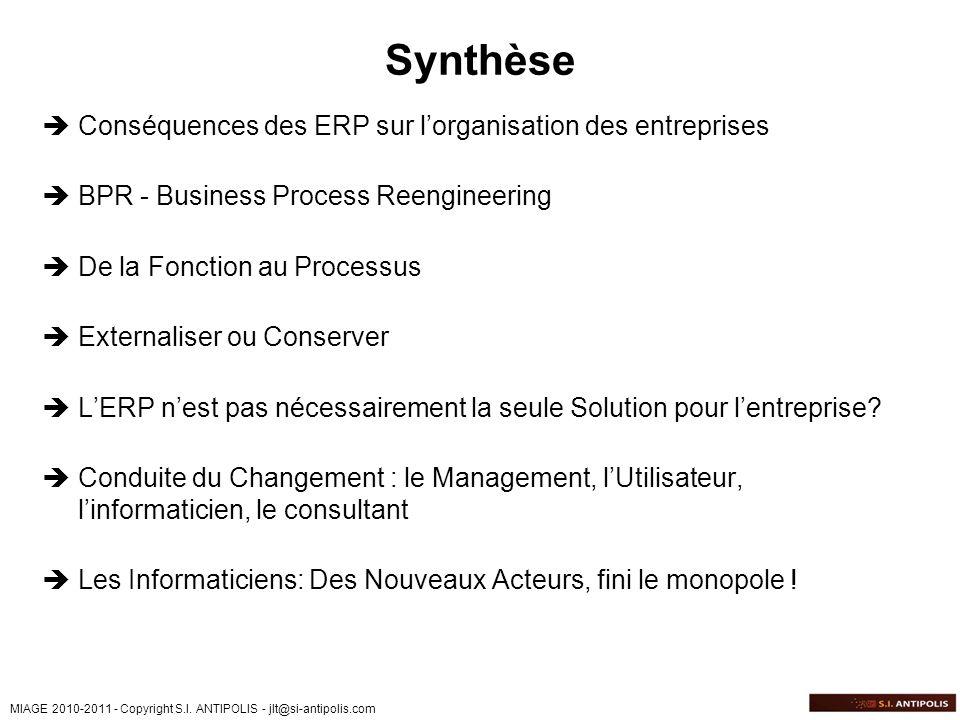 MIAGE 2010-2011 - Copyright S.I. ANTIPOLIS - jlt@si-antipolis.com Synthèse Conséquences des ERP sur lorganisation des entreprises BPR - Business Proce
