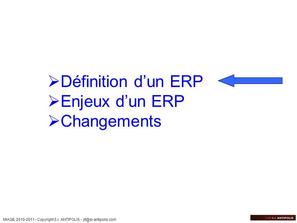 MIAGE 2010-2011 - Copyright S.I. ANTIPOLIS - jlt@si-antipolis.com Définition dun ERP Enjeux dun ERP Changements