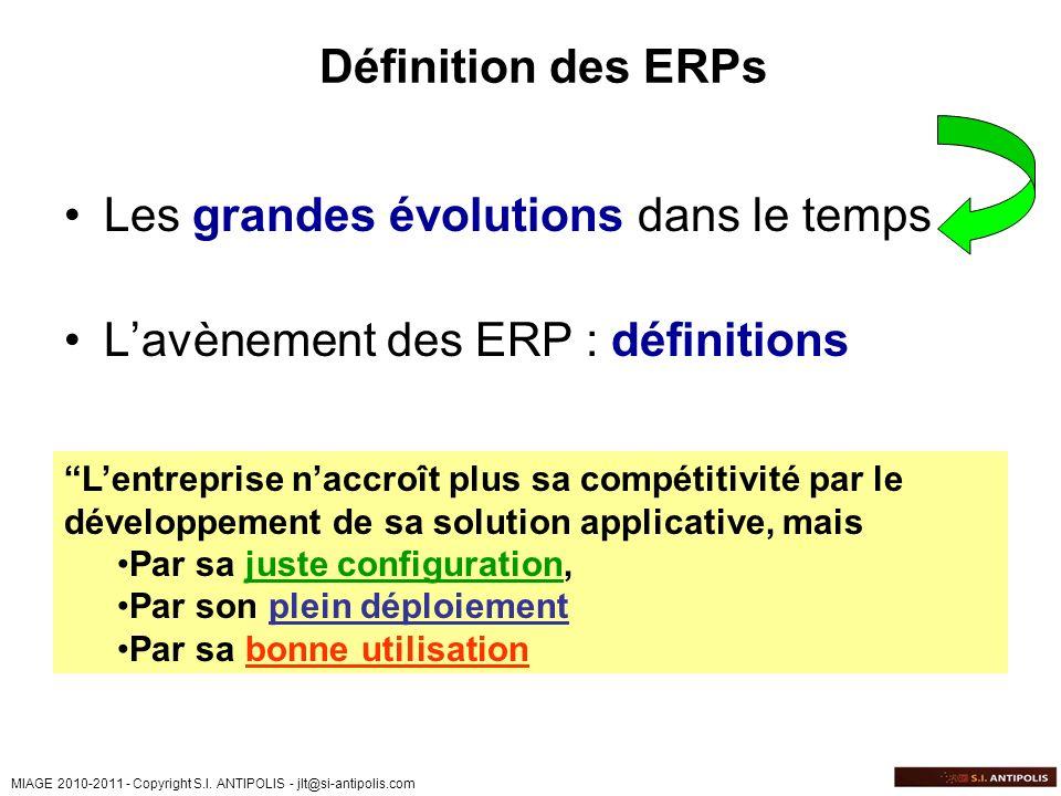 MIAGE 2010-2011 - Copyright S.I. ANTIPOLIS - jlt@si-antipolis.com Définition des ERPs Les grandes évolutions dans le temps Lavènement des ERP : défini