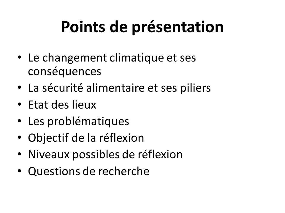 Points de présentation Le changement climatique et ses conséquences La sécurité alimentaire et ses piliers Etat des lieux Les problématiques Objectif de la réflexion Niveaux possibles de réflexion Questions de recherche