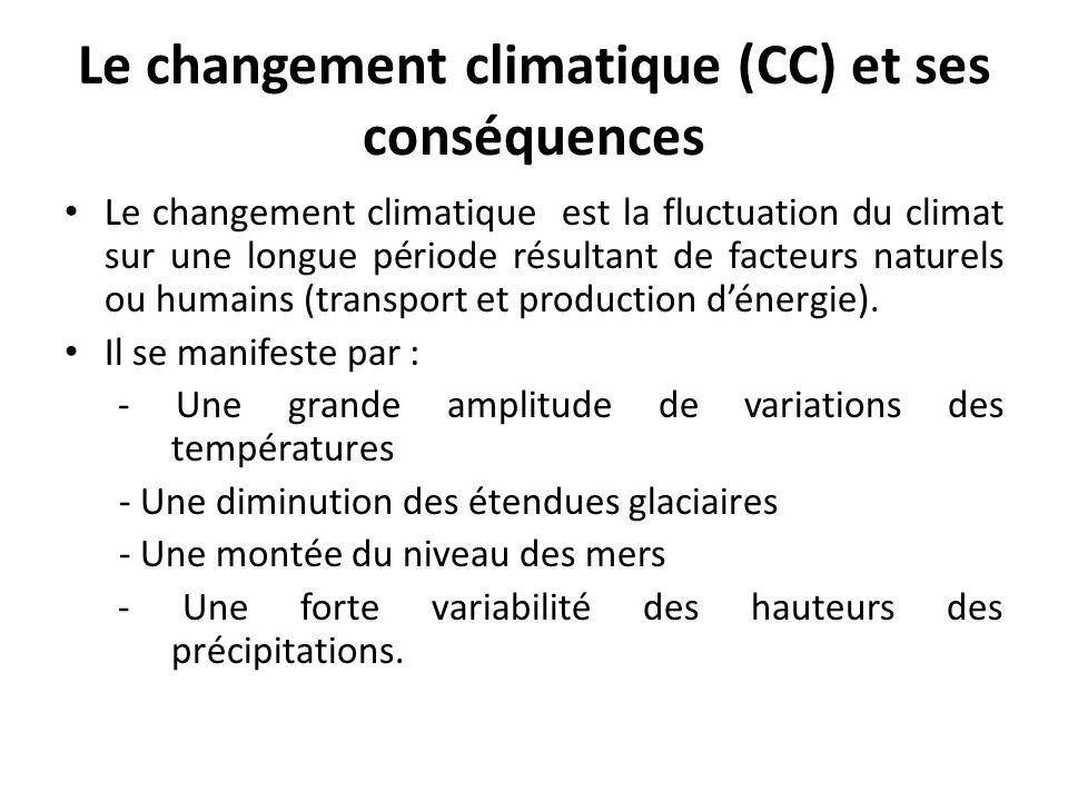 Le changement climatique (CC) et ses conséquences Le changement climatique est la fluctuation du climat sur une longue période résultant de facteurs naturels ou humains (transport et production dénergie).