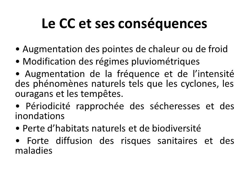 Le CC et ses conséquences Augmentation des pointes de chaleur ou de froid Modification des régimes pluviométriques Augmentation de la fréquence et de lintensité des phénomènes naturels tels que les cyclones, les ouragans et les tempêtes.