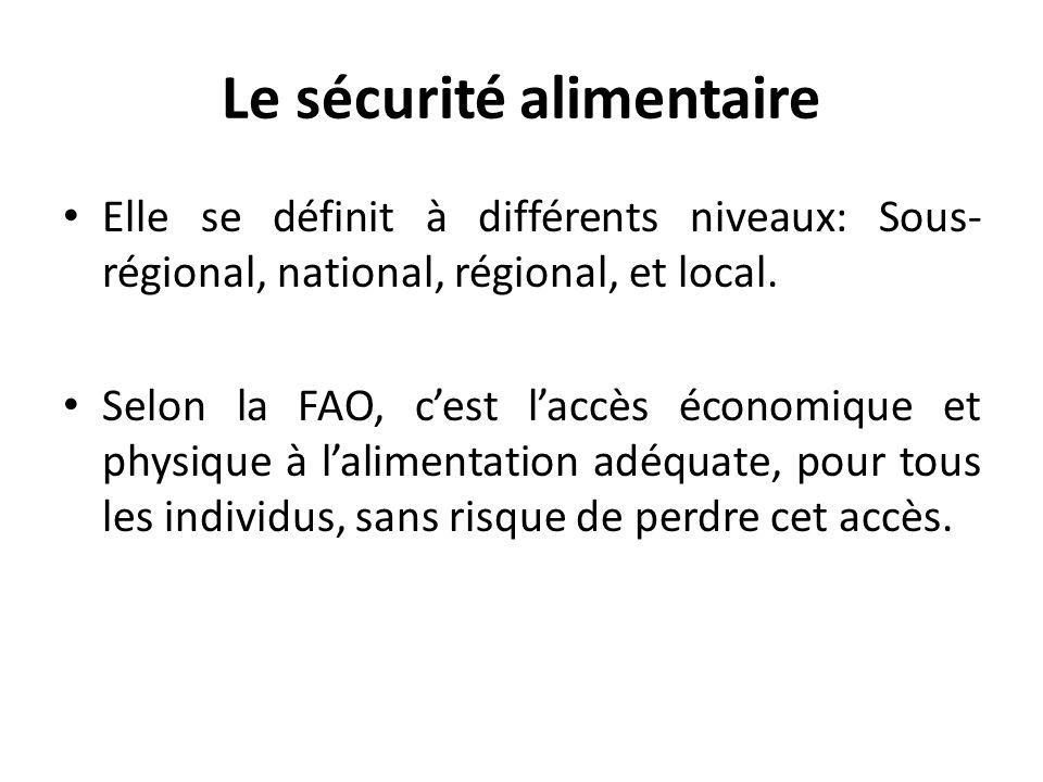 Le sécurité alimentaire Elle se définit à différents niveaux: Sous- régional, national, régional, et local. Selon la FAO, cest laccès économique et ph