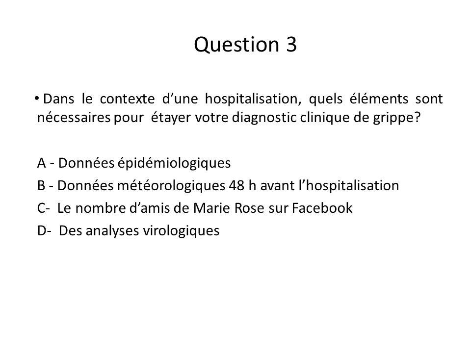 Question 3 Dans le contexte dune hospitalisation, quels éléments sont nécessaires pour étayer votre diagnostic clinique de grippe? A - Données épidémi