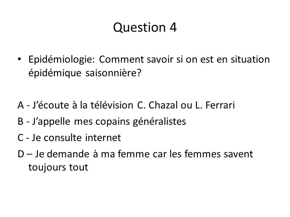 Question 4 Epidémiologie: Comment savoir si on est en situation épidémique saisonnière? A - Jécoute à la télévision C. Chazal ou L. Ferrari B - Jappel