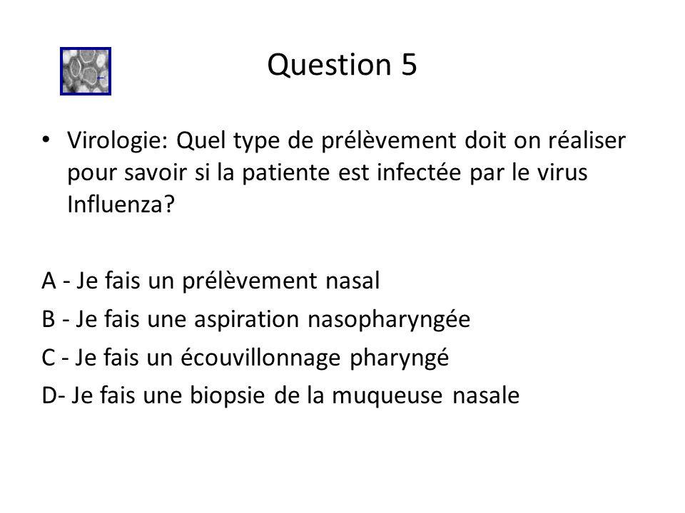 Question 5 Virologie: Quel type de prélèvement doit on réaliser pour savoir si la patiente est infectée par le virus Influenza? A - Je fais un prélève