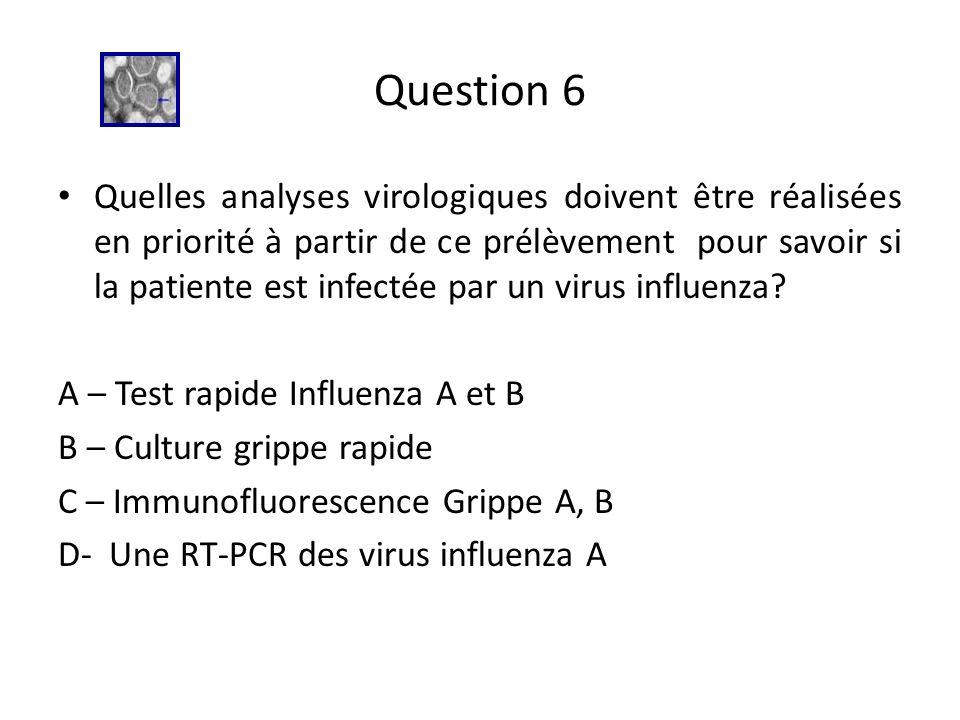 Question 6 Quelles analyses virologiques doivent être réalisées en priorité à partir de ce prélèvement pour savoir si la patiente est infectée par un