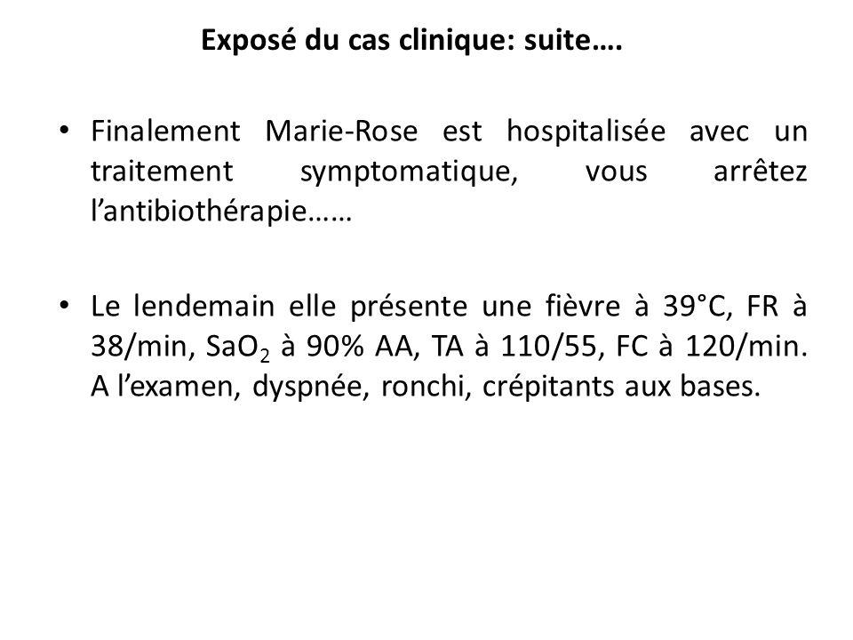 Finalement Marie-Rose est hospitalisée avec un traitement symptomatique, vous arrêtez lantibiothérapie…… Le lendemain elle présente une fièvre à 39°C,
