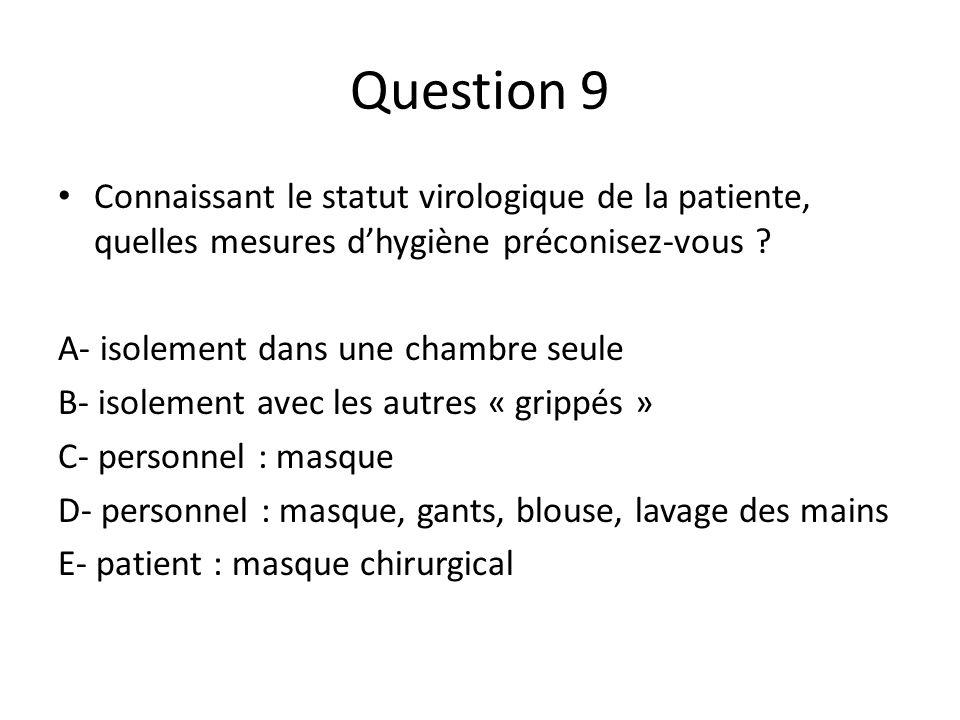 Question 9 Connaissant le statut virologique de la patiente, quelles mesures dhygiène préconisez-vous ? A- isolement dans une chambre seule B- isoleme