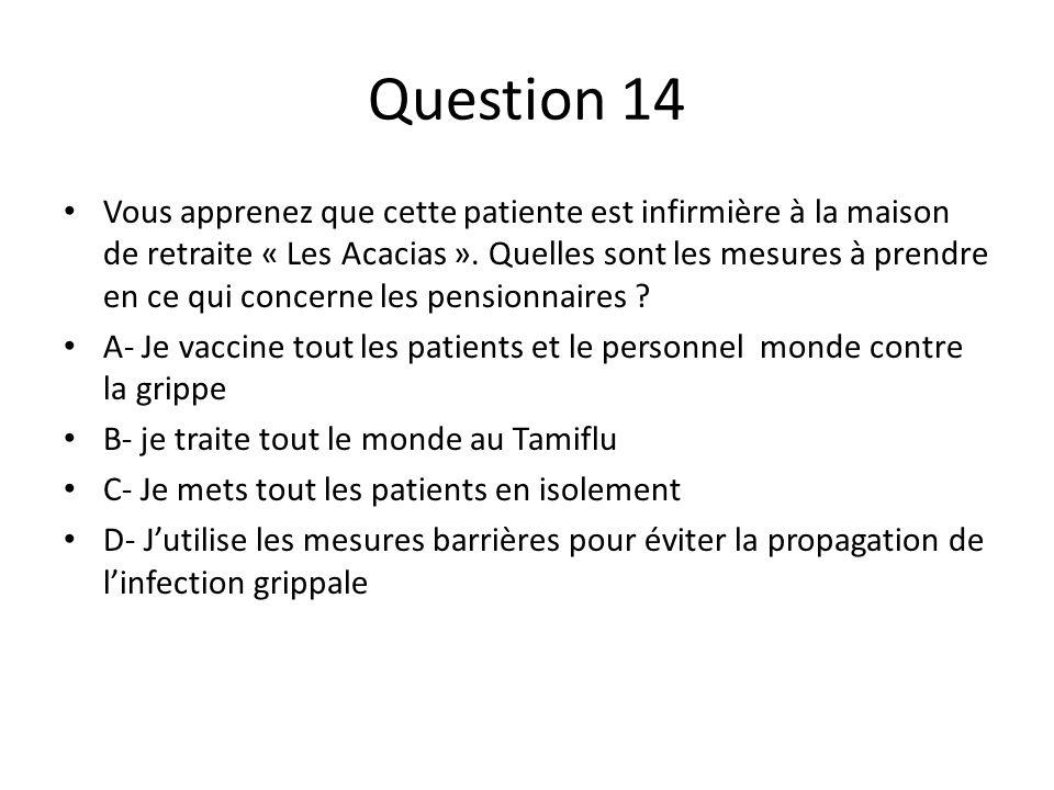 Question 14 Vous apprenez que cette patiente est infirmière à la maison de retraite « Les Acacias ». Quelles sont les mesures à prendre en ce qui conc