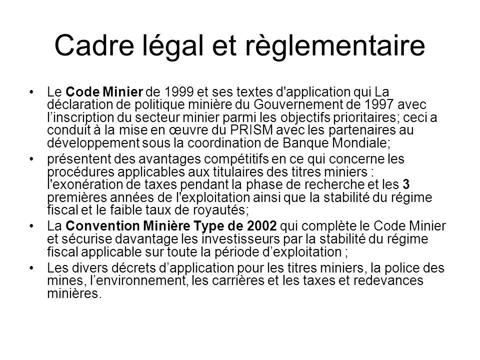 Cadre légal et règlementaire Le Code Minier de 1999 et ses textes d'application qui La déclaration de politique minière du Gouvernement de 1997 avec l