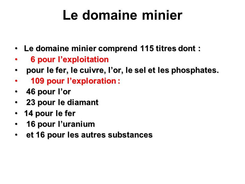 Le domaine minier Le domaine minier comprend 115 titres dont :Le domaine minier comprend 115 titres dont : 6 pour lexploitation 6 pour lexploitation p