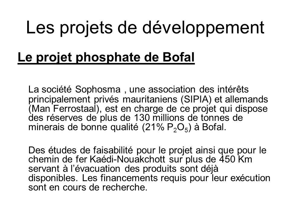 Les projets de développement Le projet phosphate de Bofal La société Sophosma, une association des intérêts principalement privés mauritaniens (SIPIA)