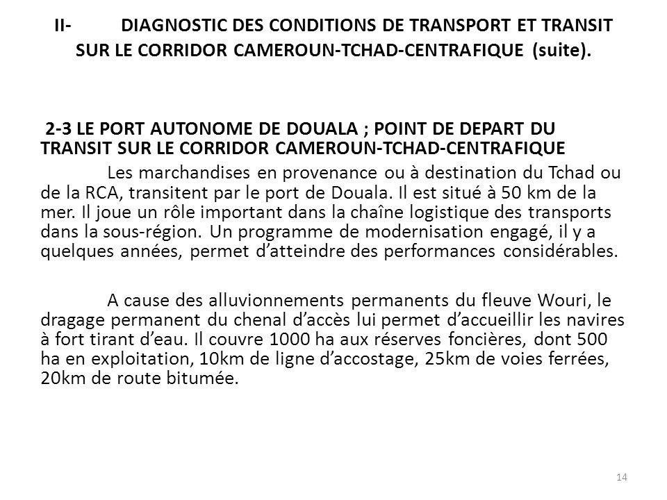 II-DIAGNOSTIC DES CONDITIONS DE TRANSPORT ET TRANSIT SUR LE CORRIDOR CAMEROUN-TCHAD-CENTRAFIQUE (suite). 2-3 LE PORT AUTONOME DE DOUALA ; POINT DE DEP