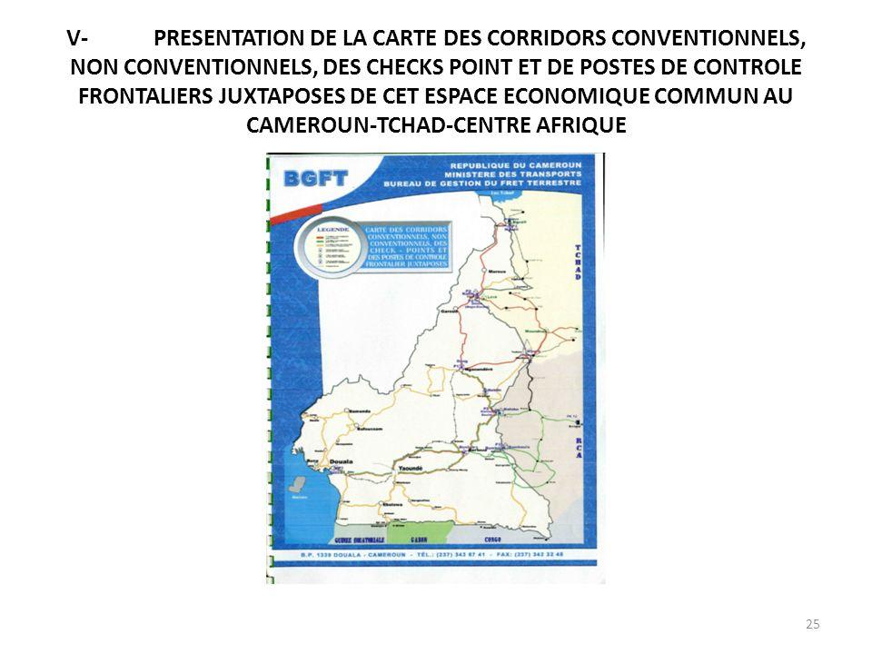 V-PRESENTATION DE LA CARTE DES CORRIDORS CONVENTIONNELS, NON CONVENTIONNELS, DES CHECKS POINT ET DE POSTES DE CONTROLE FRONTALIERS JUXTAPOSES DE CET E