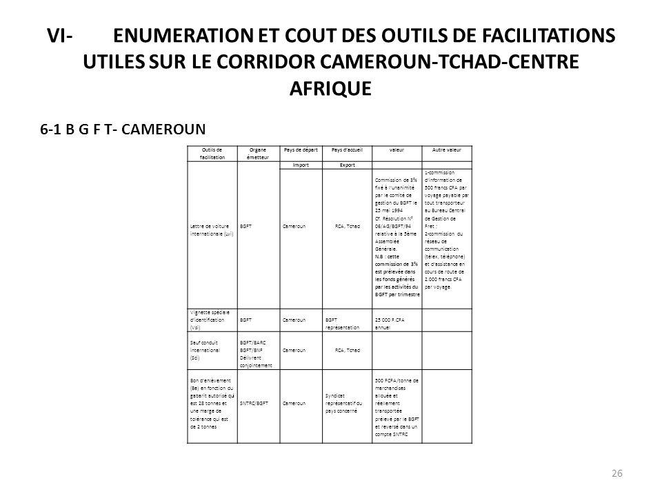 VI-ENUMERATION ET COUT DES OUTILS DE FACILITATIONS UTILES SUR LE CORRIDOR CAMEROUN-TCHAD-CENTRE AFRIQUE 6-1 B G F T- CAMEROUN Outils de facilitation O