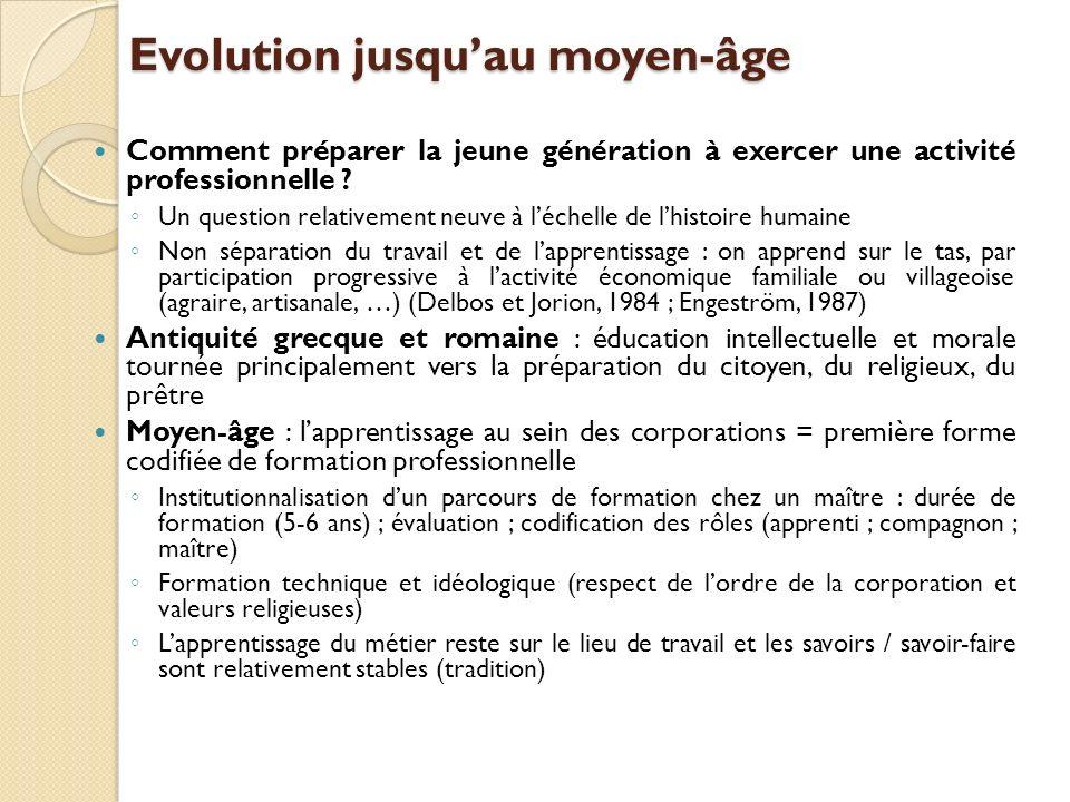 Evolution jusquau moyen-âge Comment préparer la jeune génération à exercer une activité professionnelle .