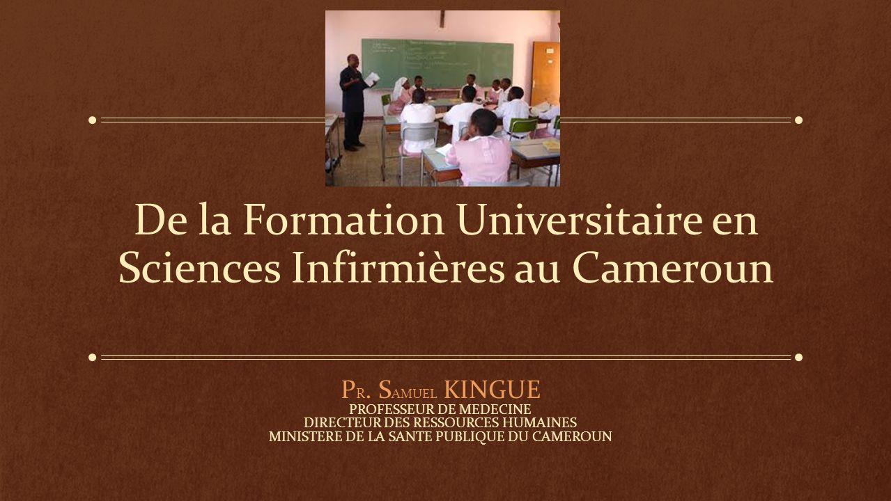 De la Formation Universitaire en Sciences Infirmières au Cameroun P R. S AMUEL KINGUE PROFESSEUR DE MEDECINE DIRECTEUR DES RESSOURCES HUMAINES MINISTE