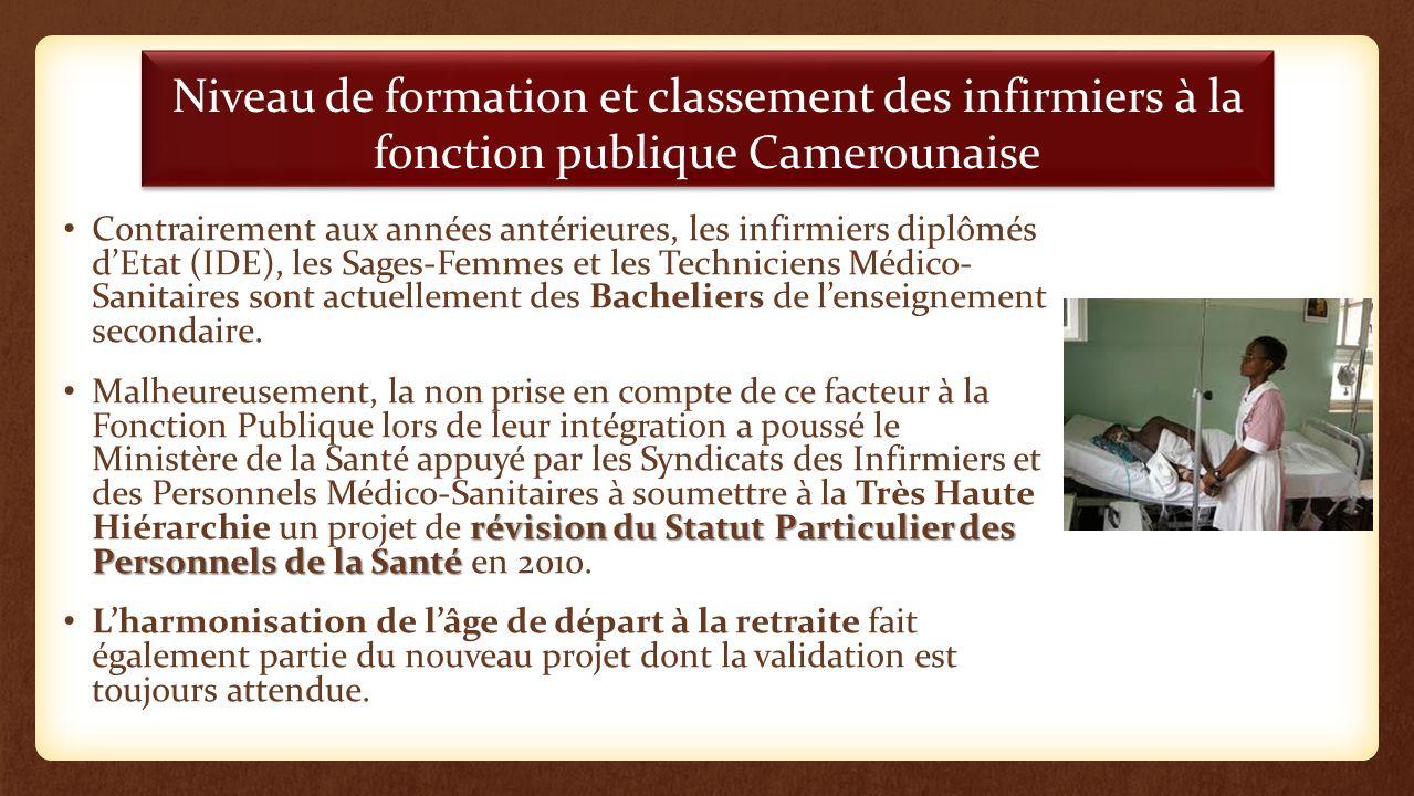 Niveau de formation et classement des infirmiers à la fonction publique Camerounaise Contrairement aux années antérieures, les infirmiers diplômés dEt