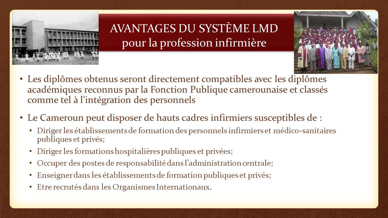 AVANTAGES DU SYSTÈME LMD pour la profession infirmière Les diplômes obtenus seront directement compatibles avec les diplômes académiques reconnus par