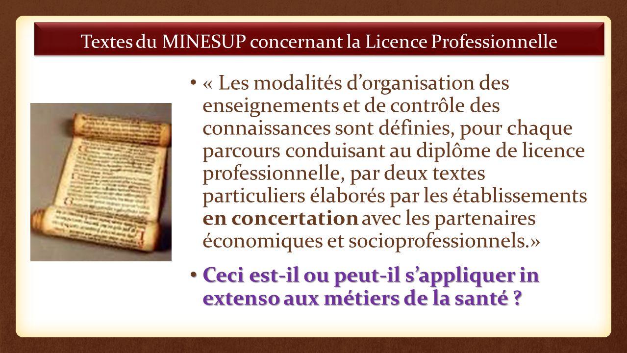 Textes du MINESUP concernant la Licence Professionnelle « Les modalités dorganisation des enseignements et de contrôle des connaissances sont définies