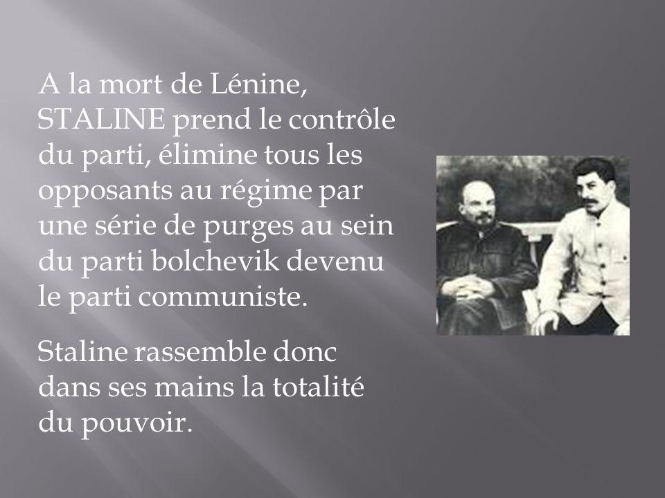 A la mort de Lénine, STALINE prend le contrôle du parti, élimine tous les opposants au régime par une série de purges au sein du parti bolchevik devenu le parti communiste.