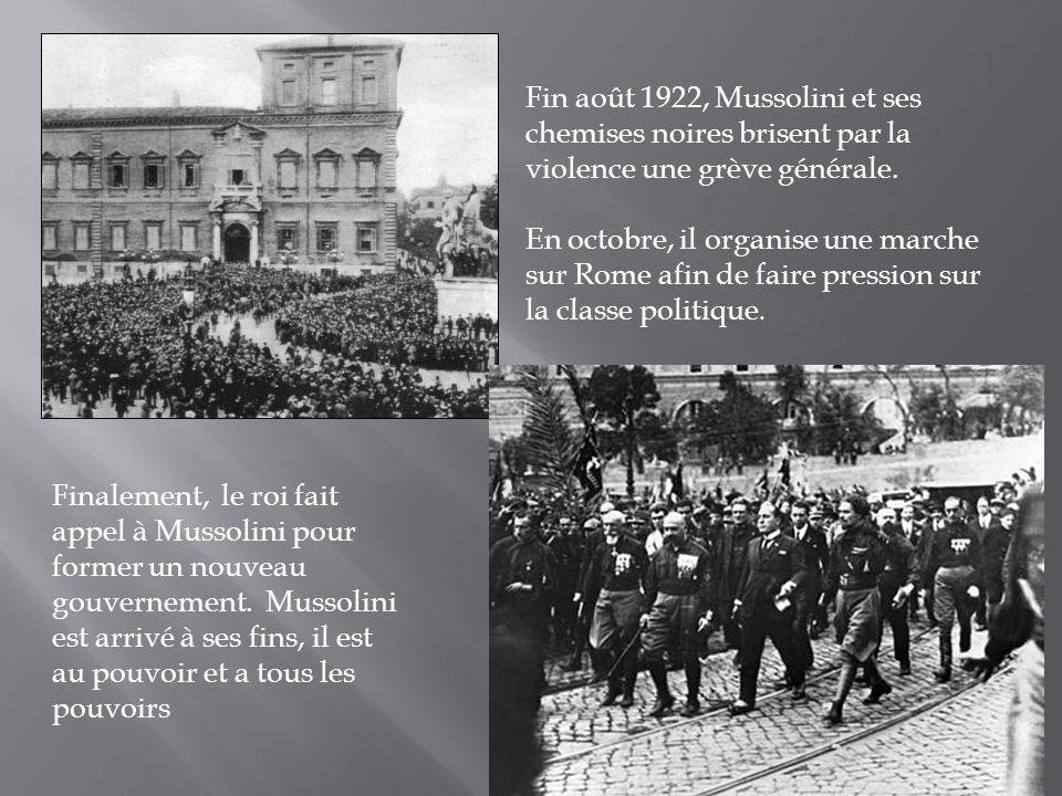 Fin août 1922, Mussolini et ses chemises noires brisent par la violence une grève générale.