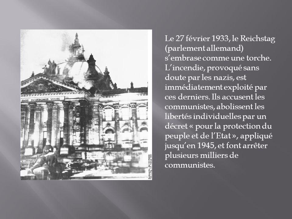 Le 27 février 1933, le Reichstag (parlement allemand) sembrase comme une torche.