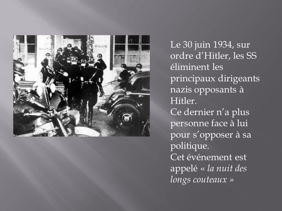 Le 30 juin 1934, sur ordre dHitler, les SS éliminent les principaux dirigeants nazis opposants à Hitler.