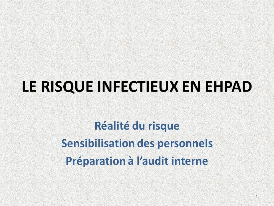 LE RISQUE INFECTIEUX EN EHPAD Réalité du risque Sensibilisation des personnels Préparation à laudit interne 1