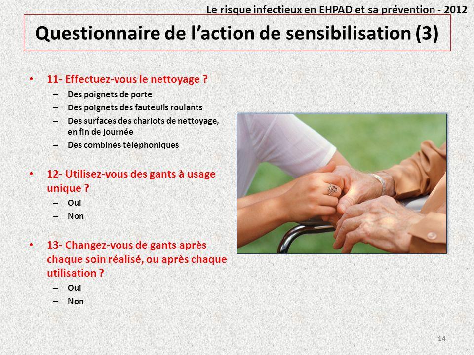Questionnaire de laction de sensibilisation (3) 11- Effectuez-vous le nettoyage ? – Des poignets de porte – Des poignets des fauteuils roulants – Des