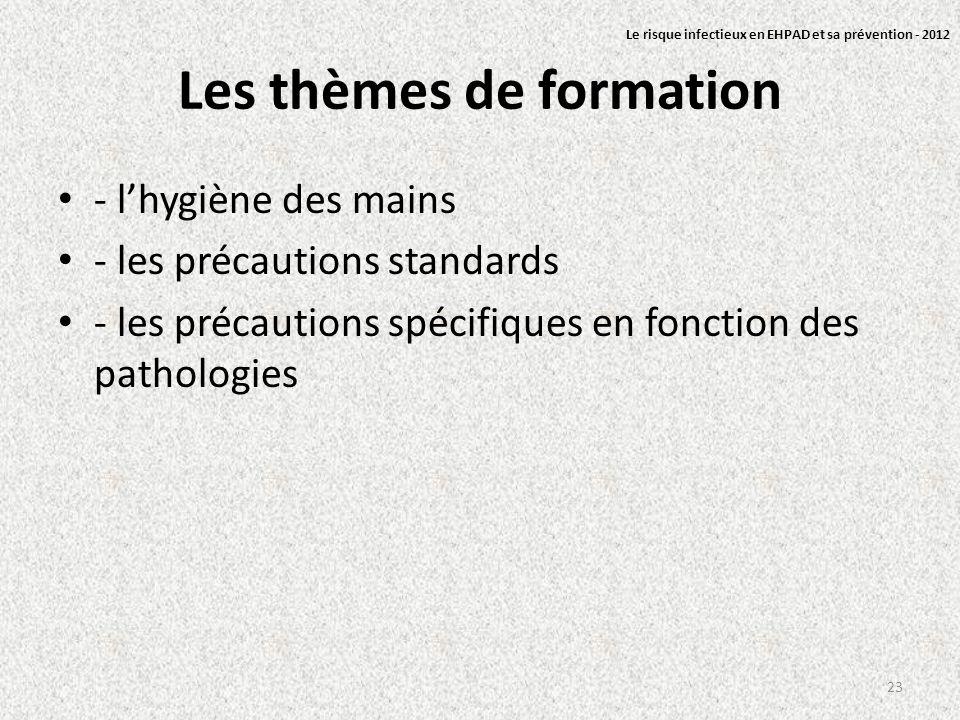 Les thèmes de formation - lhygiène des mains - les précautions standards - les précautions spécifiques en fonction des pathologies 23 Le risque infect