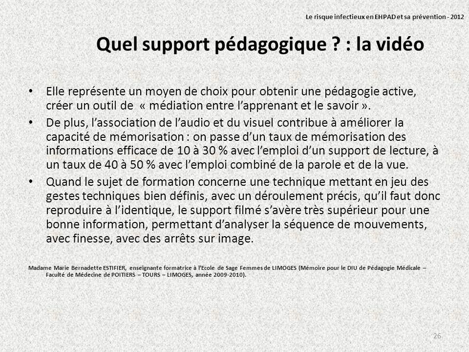 Quel support pédagogique ? : la vidéo Elle représente un moyen de choix pour obtenir une pédagogie active, créer un outil de « médiation entre lappren