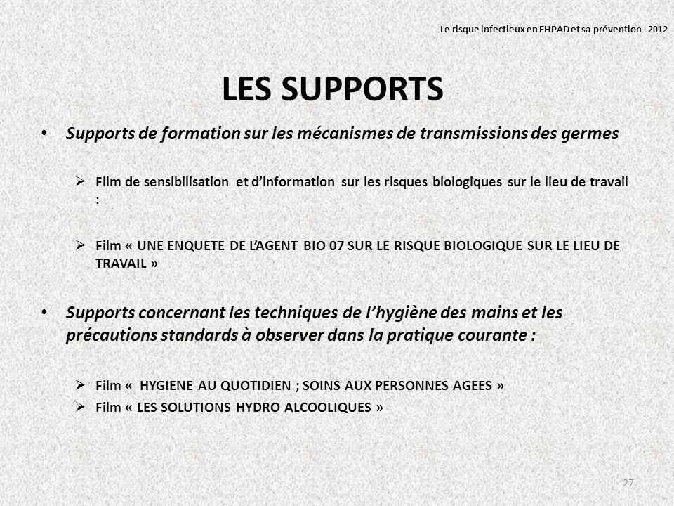 LES SUPPORTS Supports de formation sur les mécanismes de transmissions des germes Film de sensibilisation et dinformation sur les risques biologiques
