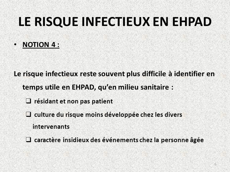 LE RISQUE INFECTIEUX EN EHPAD NOTION 4 : Le risque infectieux reste souvent plus difficile à identifier en temps utile en EHPAD, quen milieu sanitaire