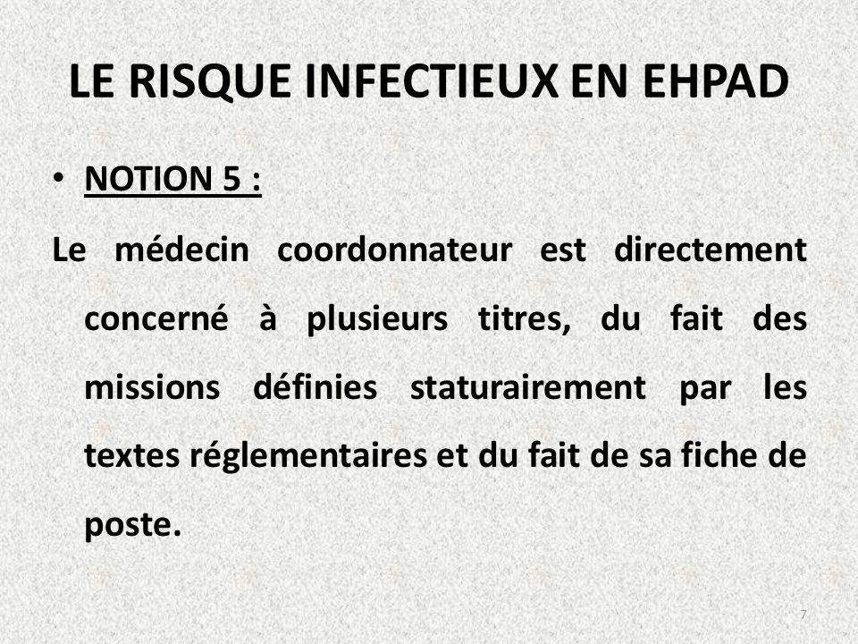 LE RISQUE INFECTIEUX EN EHPAD NOTION 5 : Le médecin coordonnateur est directement concerné à plusieurs titres, du fait des missions définies staturair