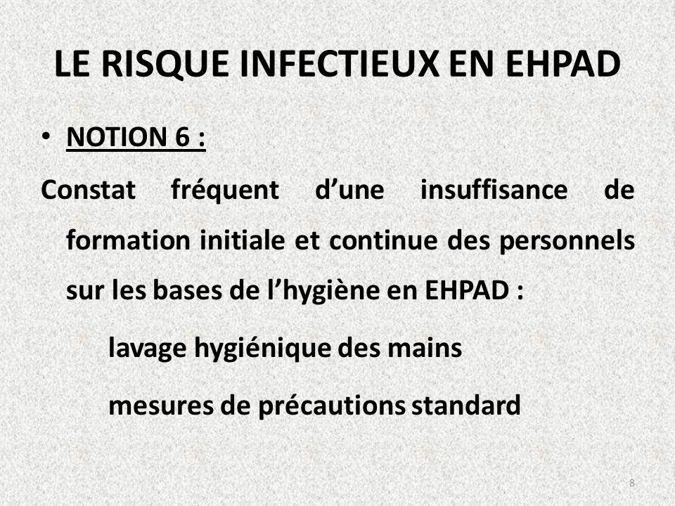 LE RISQUE INFECTIEUX EN EHPAD NOTION 6 : Constat fréquent dune insuffisance de formation initiale et continue des personnels sur les bases de lhygiène