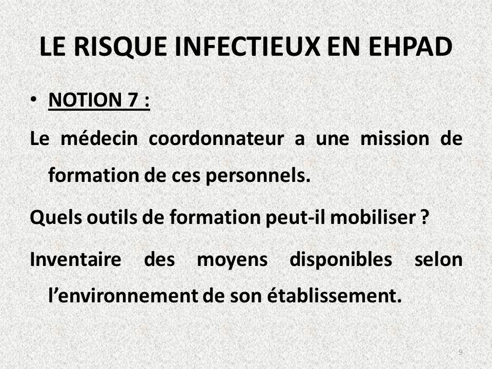 LE RISQUE INFECTIEUX EN EHPAD NOTION 7 : Le médecin coordonnateur a une mission de formation de ces personnels. Quels outils de formation peut-il mobi