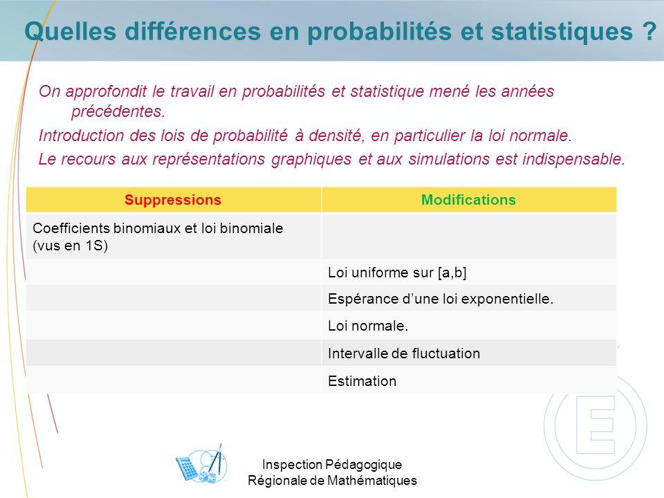 Inspection Pédagogique Régionale de Mathématiques Quelles différences en probabilités et statistiques .