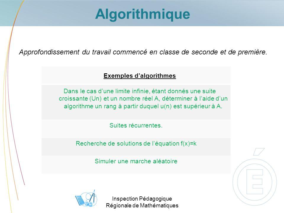 Inspection Pédagogique Régionale de Mathématiques Algorithmique Approfondissement du travail commencé en classe de seconde et de première.