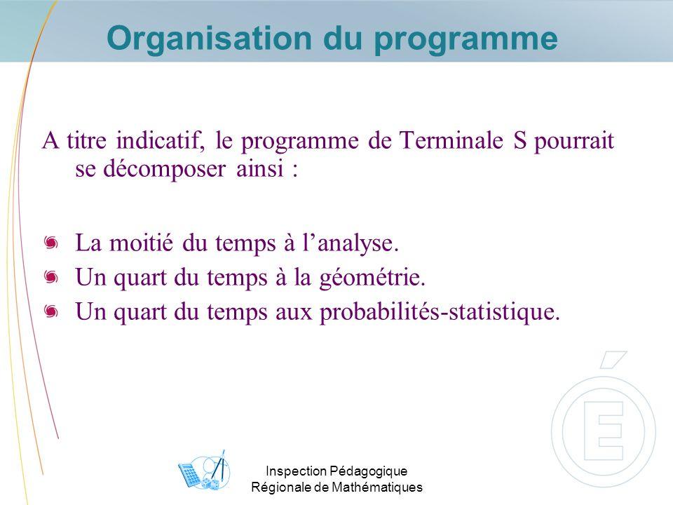 Inspection Pédagogique Régionale de Mathématiques Les domaines du programme de Term S Analyse Limites, asymptotes, suites, fonctions, intégrations.