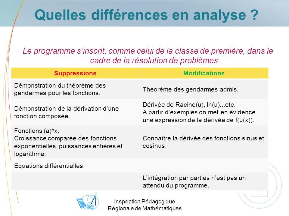 Inspection Pédagogique Régionale de Mathématiques Quelles différences en analyse .