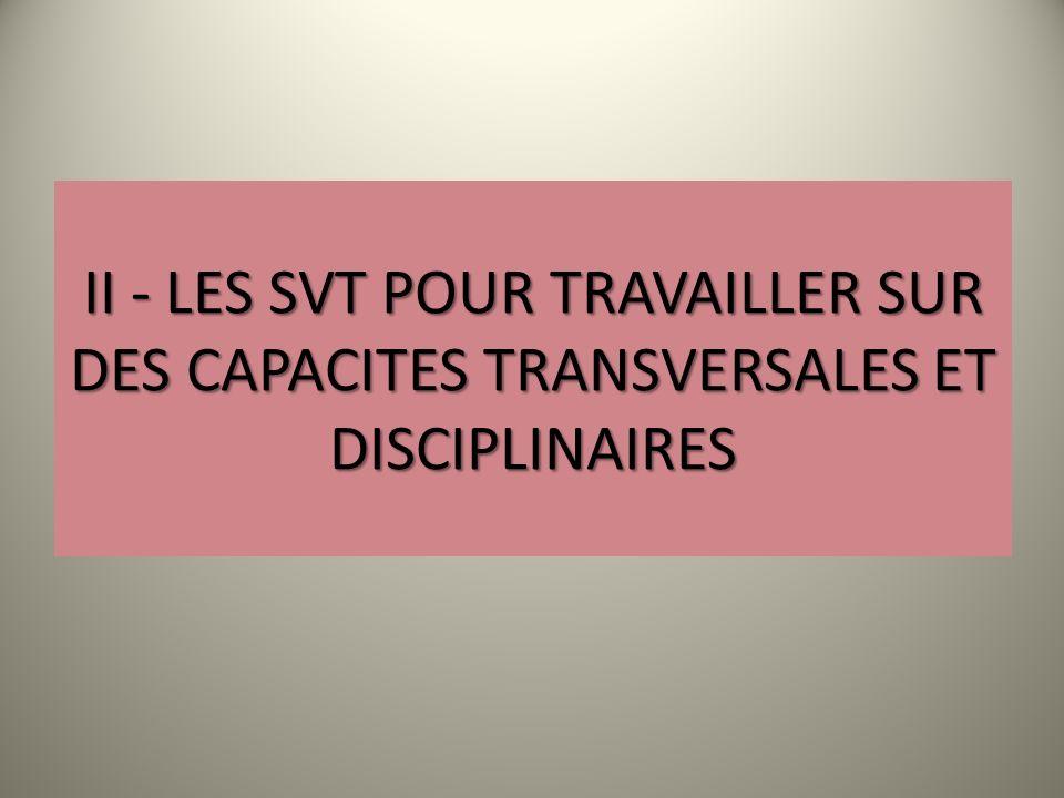II - LES SVT POUR TRAVAILLER SUR DES CAPACITES TRANSVERSALES ET DISCIPLINAIRES