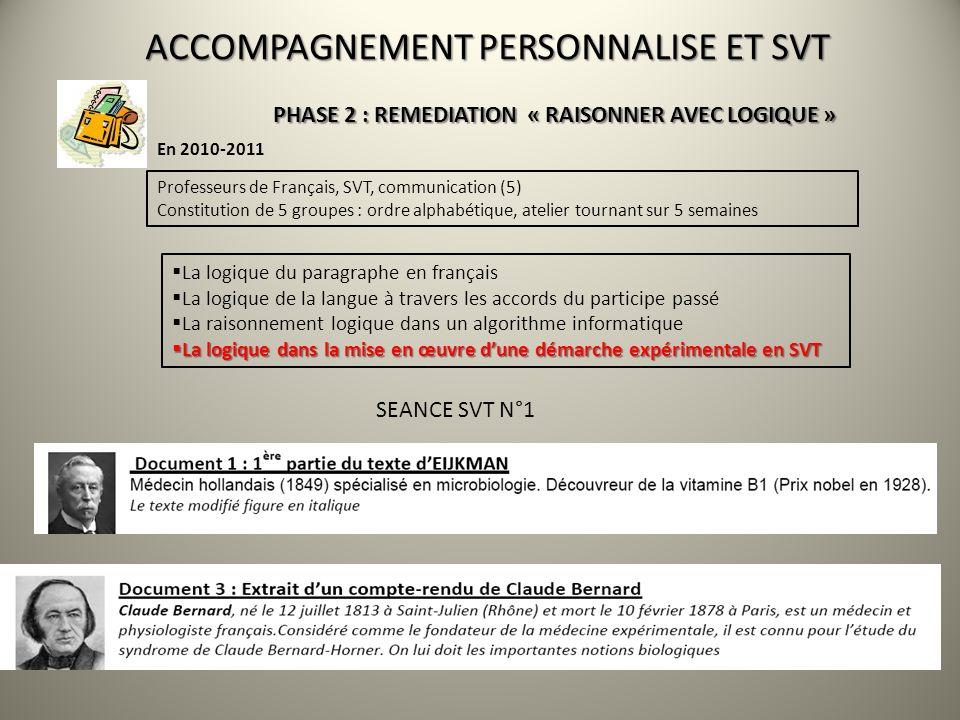 ACCOMPAGNEMENT PERSONNALISE ET SVT En 2010-2011 PHASE 2 : REMEDIATION « RAISONNER AVEC LOGIQUE » Professeurs de Français, SVT, communication (5) Const