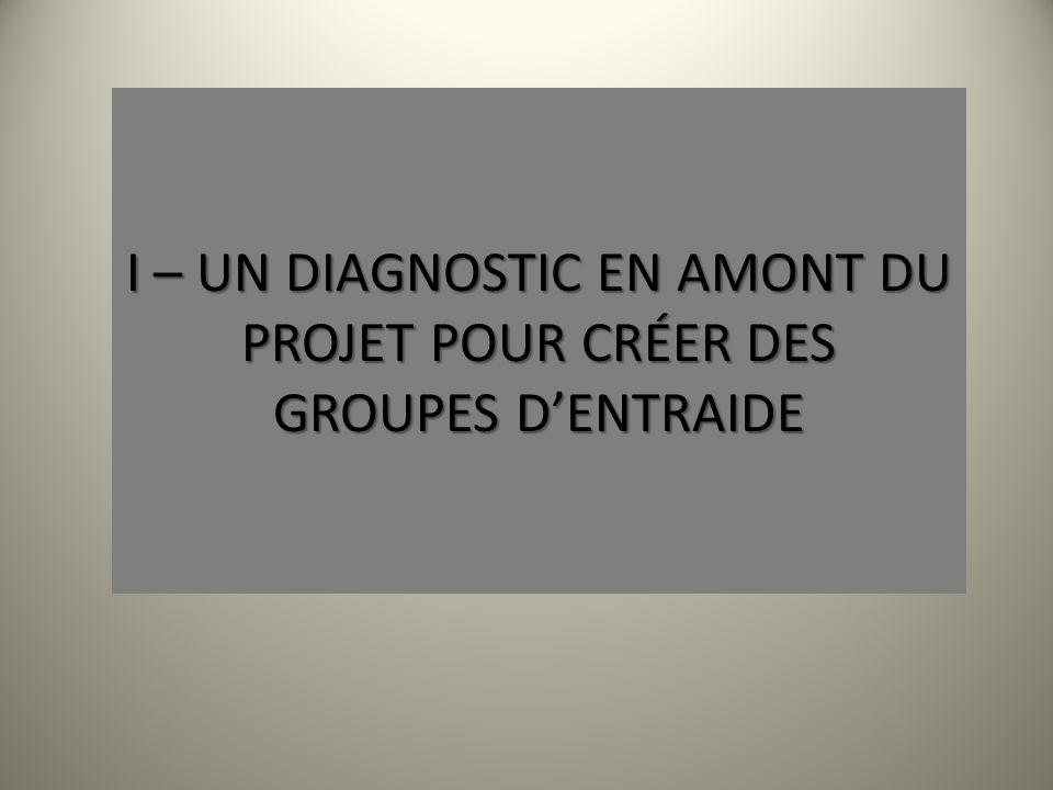 I – UN DIAGNOSTIC EN AMONT DU PROJET POUR CRÉER DES GROUPES DENTRAIDE
