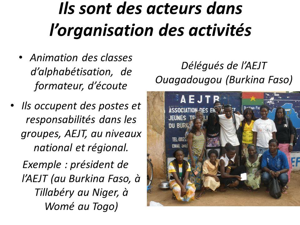 Ils sont des acteurs dans lorganisation des activités Animation des classes dalphabétisation, de formateur, découte Ils occupent des postes et responsabilités dans les groupes, AEJT, au niveaux national et régional.
