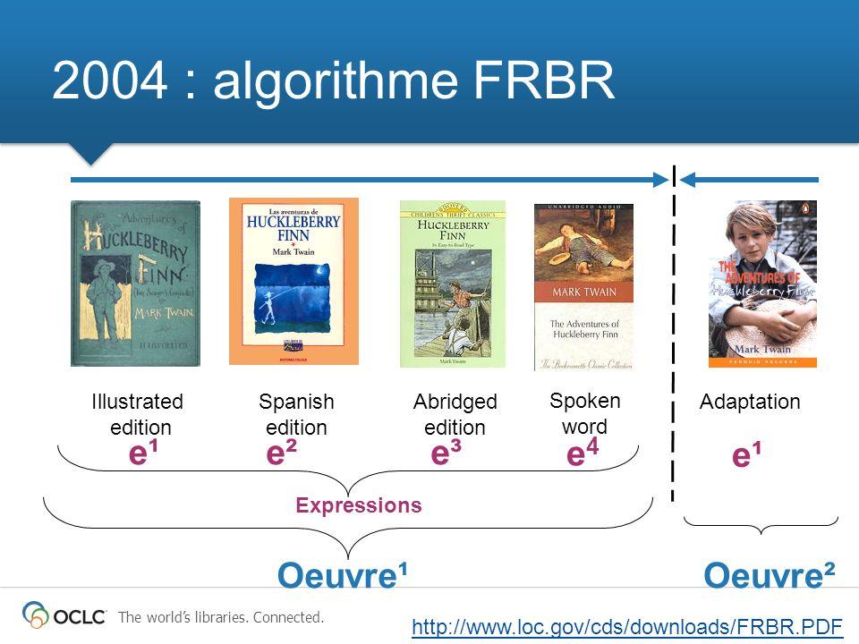 2004 : algorithme FRBR Spoken word Illustrated edition Spanish edition Abridged edition Adaptation Expressions Oeuvre¹Oeuvre² e¹e²e³ e¹ e4e4 http://www.loc.gov/cds/downloads/FRBR.PDF