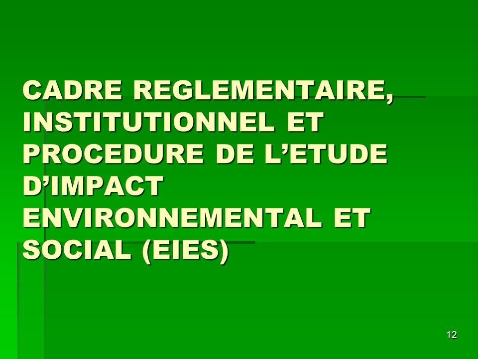 12 CADRE REGLEMENTAIRE, INSTITUTIONNEL ET PROCEDURE DE LETUDE DIMPACT ENVIRONNEMENTAL ET SOCIAL (EIES)