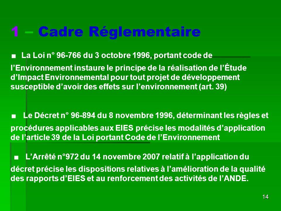 14 1 – Cadre Réglementaire. La Loi n° 96-766 du 3 octobre 1996, portant code de lEnvironnement instaure le principe de la réalisation de lÉtude dImpac