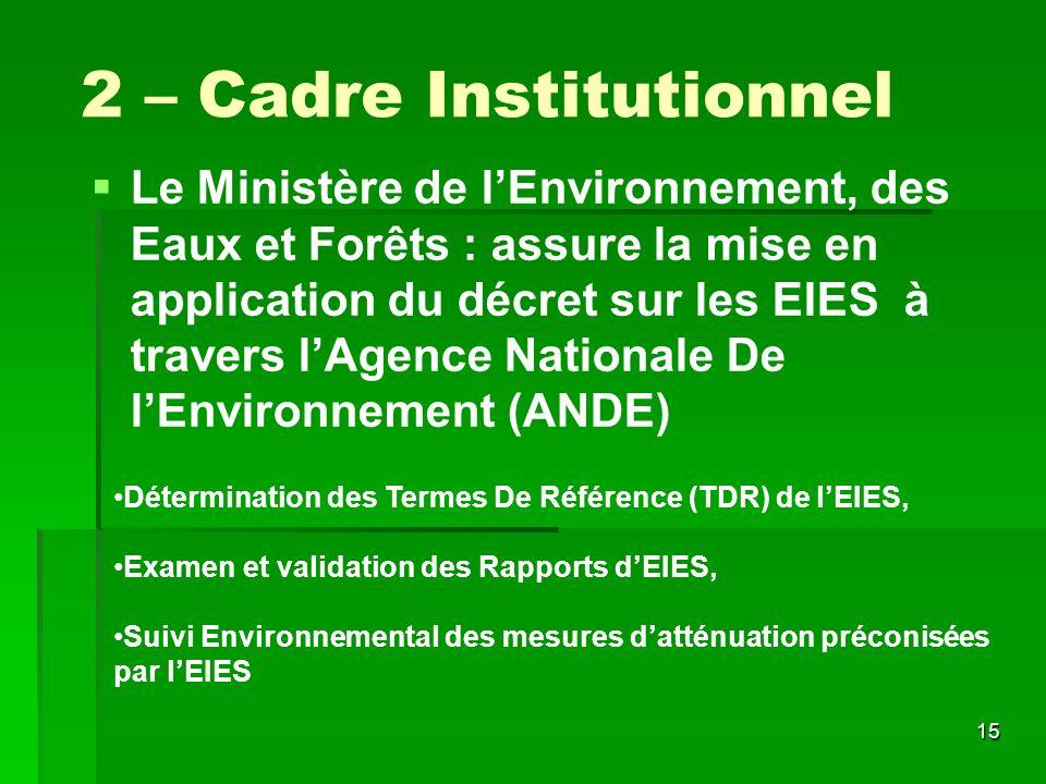 15 2 – Cadre Institutionnel Le Ministère de lEnvironnement, des Eaux et Forêts : assure la mise en application du décret sur les EIES à travers lAgenc